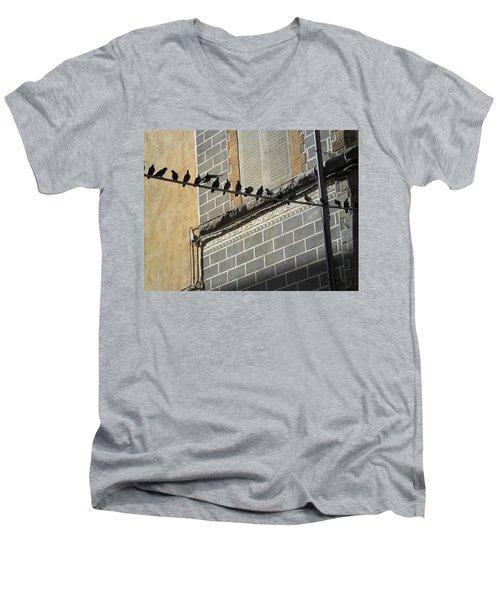 Men's V-Neck T-Shirt featuring the photograph Florentine Pigeons by Laurel Best