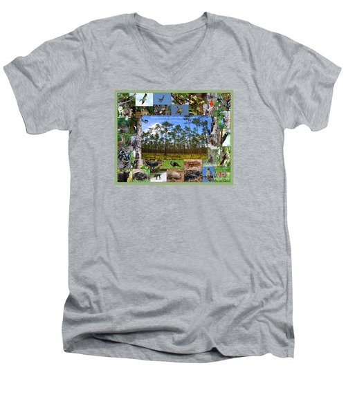 Florida Wildlife Photo Collage Men's V-Neck T-Shirt by Barbara Bowen