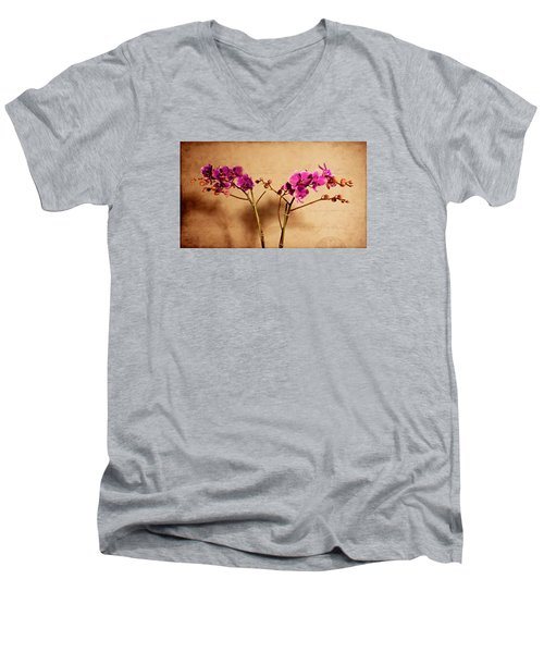 Flower Letter Men's V-Neck T-Shirt by Milena Ilieva