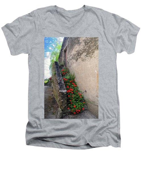 Men's V-Neck T-Shirt featuring the photograph Flower Stairway by Dave Mills