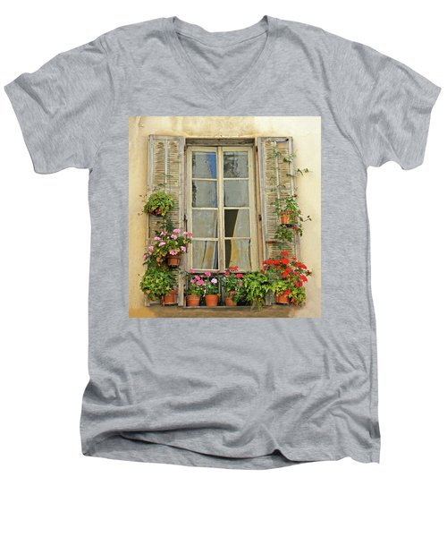 Men's V-Neck T-Shirt featuring the photograph Flower Window Provence France by Dave Mills