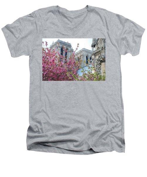 Men's V-Neck T-Shirt featuring the photograph Flowering Notre Dame by Jennifer Ancker