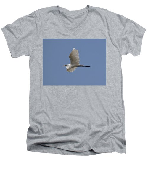 Flying Egret Men's V-Neck T-Shirt by Jeannette Hunt