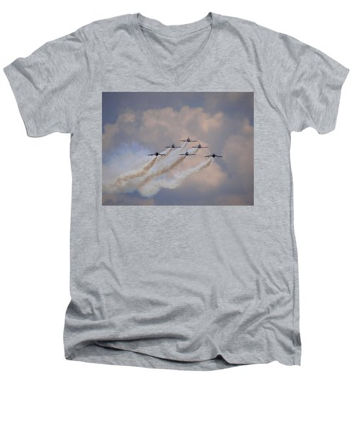 Men's V-Neck T-Shirt featuring the photograph Flying In Formation by Julia Wilcox