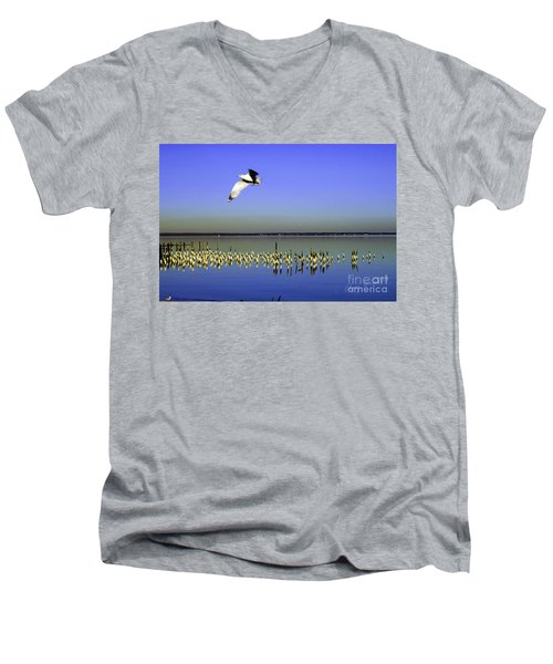 Men's V-Neck T-Shirt featuring the photograph Flying Solo by Clayton Bruster