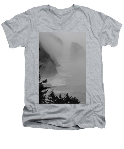 Men's V-Neck T-Shirt featuring the photograph Fog And Cliffs Of The Oregon Coast by Mick Anderson