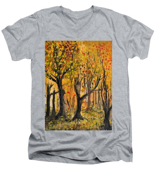 Men's V-Neck T-Shirt featuring the painting Foliage by Evelina Popilian