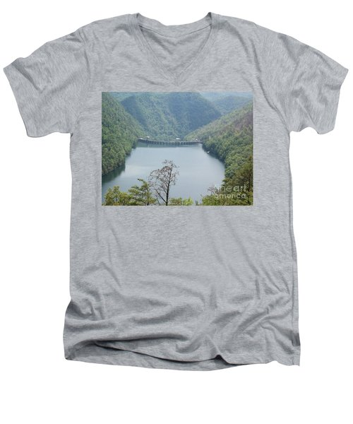 Fontana Dam Men's V-Neck T-Shirt by Janice Spivey