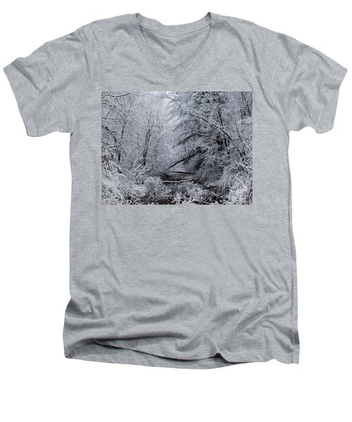 Men's V-Neck T-Shirt featuring the photograph Forest Lace by Christian Mattison