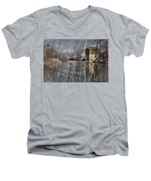 Men's V-Neck T-Shirt featuring the photograph Fredonia Mill by Brian Duram