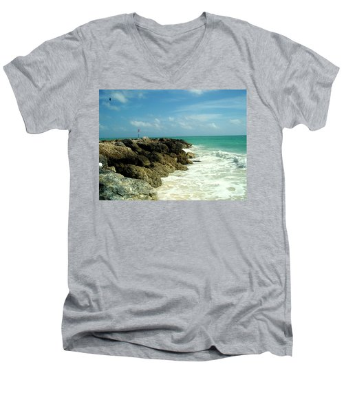 Men's V-Neck T-Shirt featuring the photograph Freeport Coast by Cynthia Amaral