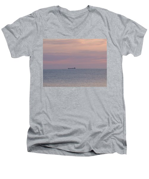 Men's V-Neck T-Shirt featuring the photograph Freighter by Bonfire Photography