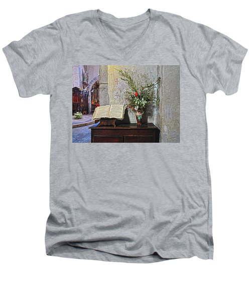 Men's V-Neck T-Shirt featuring the photograph French Church Decorations by Dave Mills