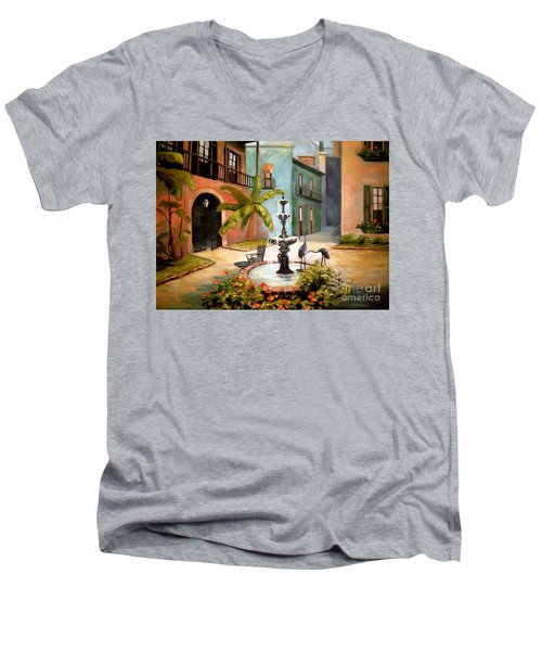 French Quarter Fountain Men's V-Neck T-Shirt
