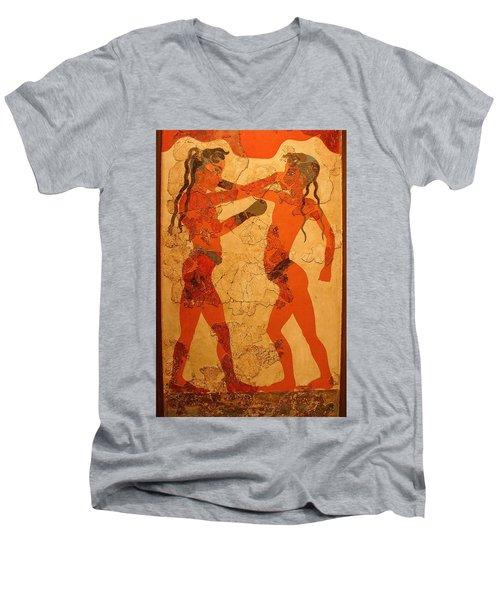 Fresco Of Boxing Children Men's V-Neck T-Shirt