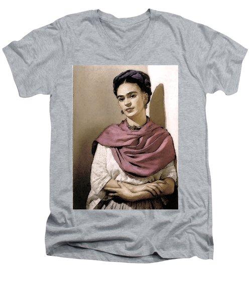 Frida Interpreted 2 Men's V-Neck T-Shirt by Lenore Senior