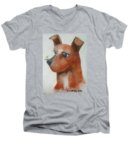 Men's V-Neck T-Shirt featuring the painting Friends Are Friends by Dan Whittemore