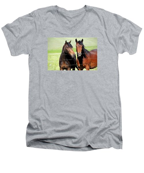 Men's V-Neck T-Shirt featuring the photograph Friends by Fran Riley