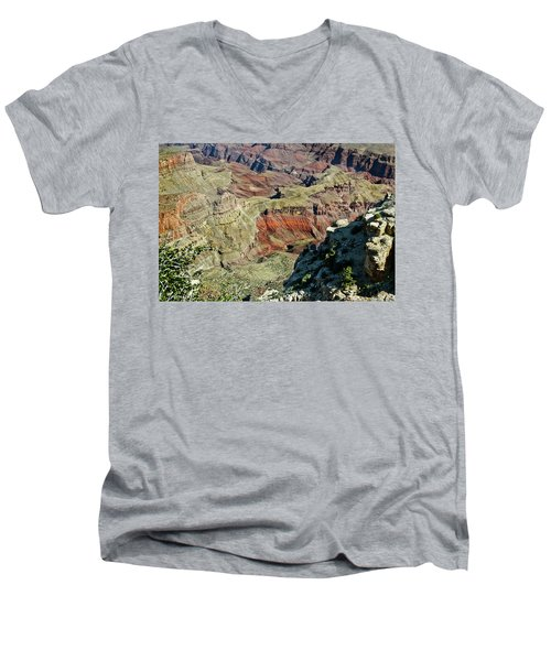 Men's V-Neck T-Shirt featuring the painting From Yaki Point 6 Grand Canyon by Bob and Nadine Johnston