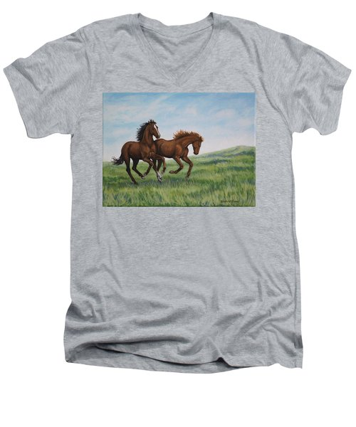 Men's V-Neck T-Shirt featuring the painting Galloping Horses by Penny Birch-Williams