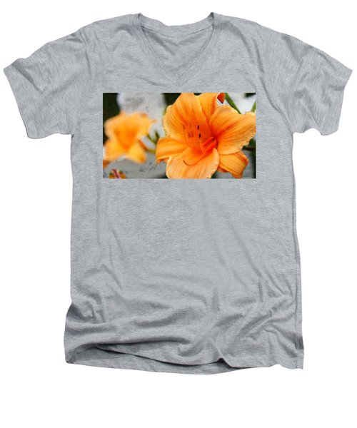 Men's V-Neck T-Shirt featuring the photograph Garden Lily by Davandra Cribbie
