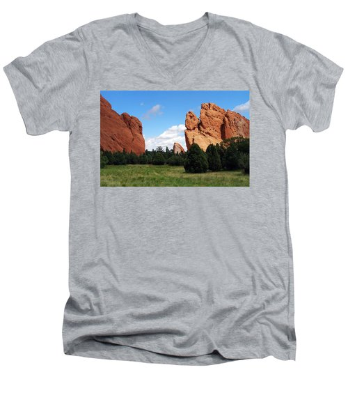 Men's V-Neck T-Shirt featuring the photograph Garden Of The Gods by David Pantuso