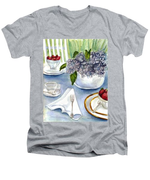 Men's V-Neck T-Shirt featuring the painting Garden Tea Party by Clara Sue Beym