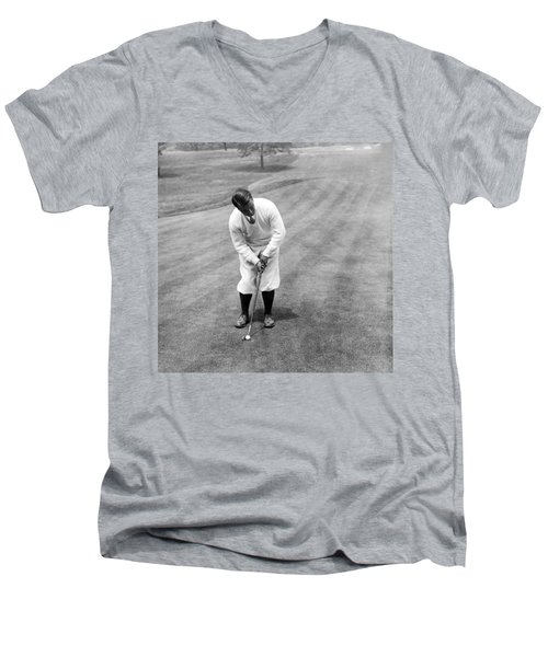 Men's V-Neck T-Shirt featuring the photograph Gene Sarazen Playing Golf by International  Images