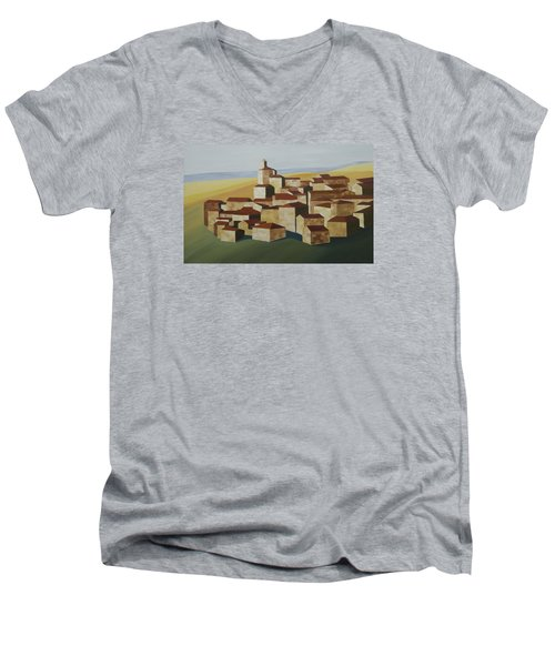 Geometric Village Spain Men's V-Neck T-Shirt