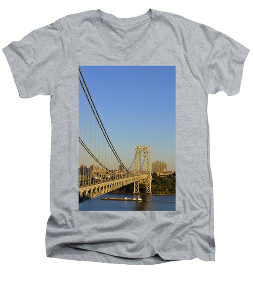 George Washington Bridge And Boat Men's V-Neck T-Shirt