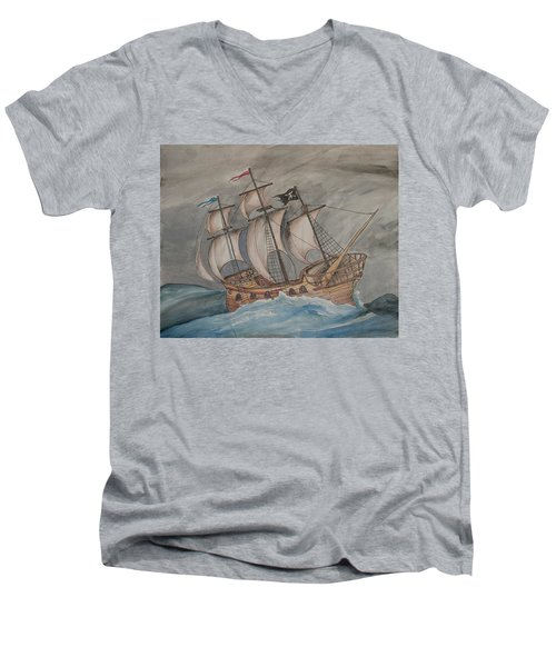 Ghost Pirate Ship Men's V-Neck T-Shirt
