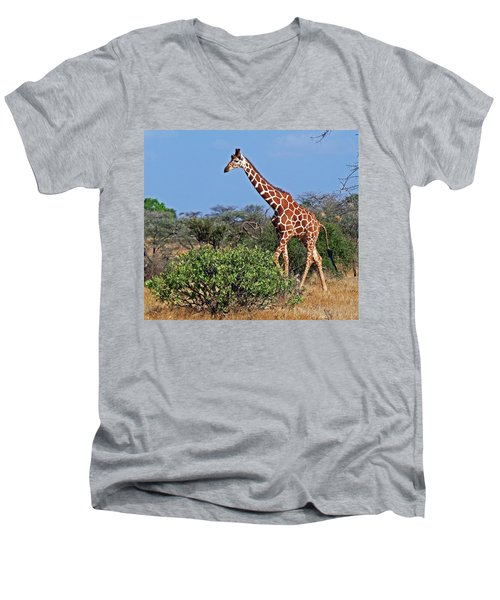 Giraffe Against Blue Sky Men's V-Neck T-Shirt