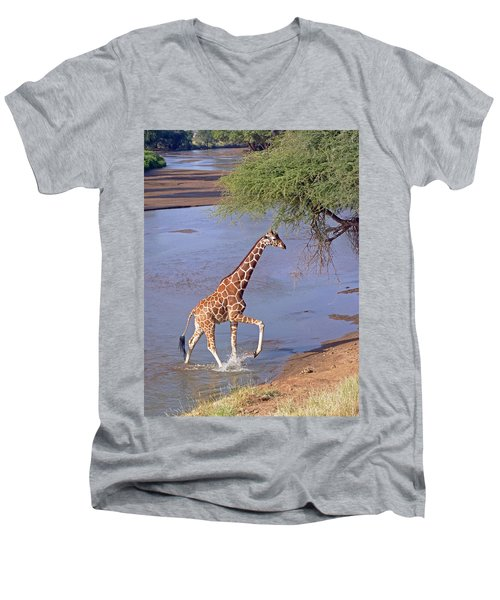 Giraffe Crossing Stream Men's V-Neck T-Shirt
