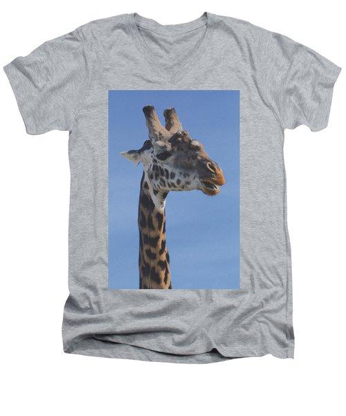 Men's V-Neck T-Shirt featuring the photograph Giraffe Headshot by Tom Wurl