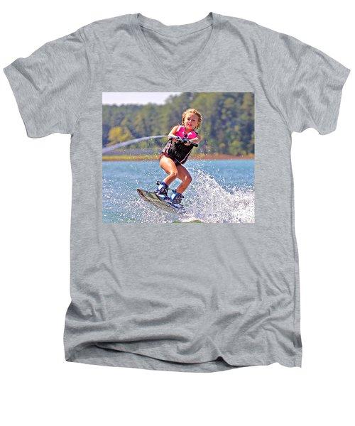 Girl Trick Skiing Men's V-Neck T-Shirt