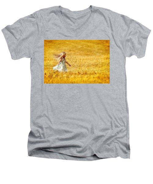 Girl With The Golden Locks Men's V-Neck T-Shirt