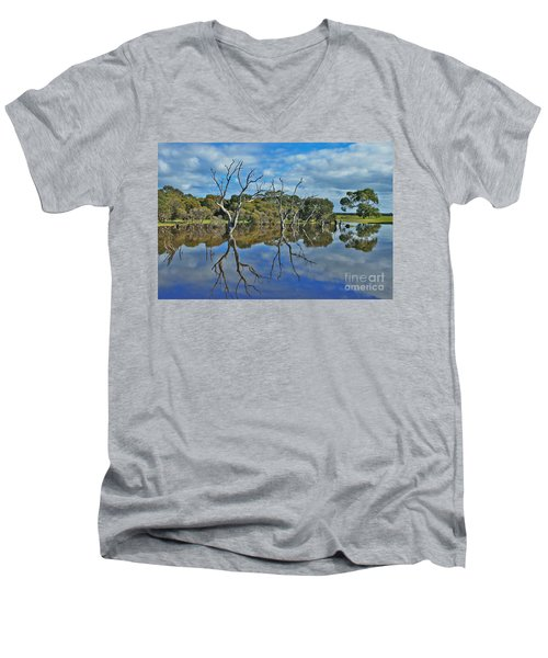 Men's V-Neck T-Shirt featuring the photograph Glass Lake by Stephen Mitchell