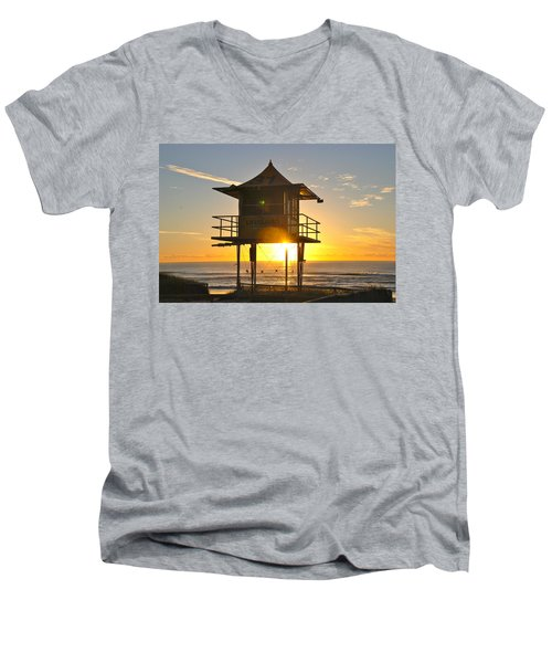 Men's V-Neck T-Shirt featuring the photograph Gold Coast Life Guard Tower by Eric Tressler