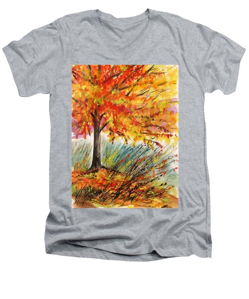 Men's V-Neck T-Shirt featuring the painting Gold On A Blue Day by John Williams