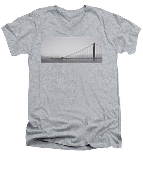 Men's V-Neck T-Shirt featuring the photograph Golden Gate Morning by Don Schwartz