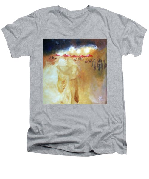 Men's V-Neck T-Shirt featuring the painting Golden Memories by Keith Thue