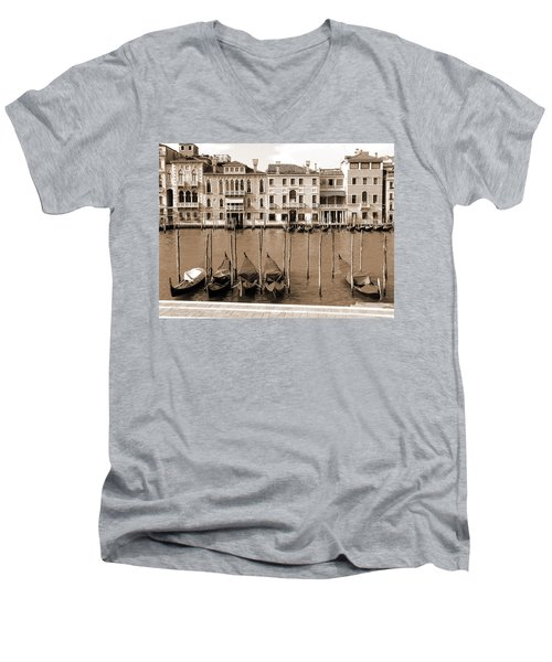 Gondolas Outside Salute Men's V-Neck T-Shirt by Donna Corless
