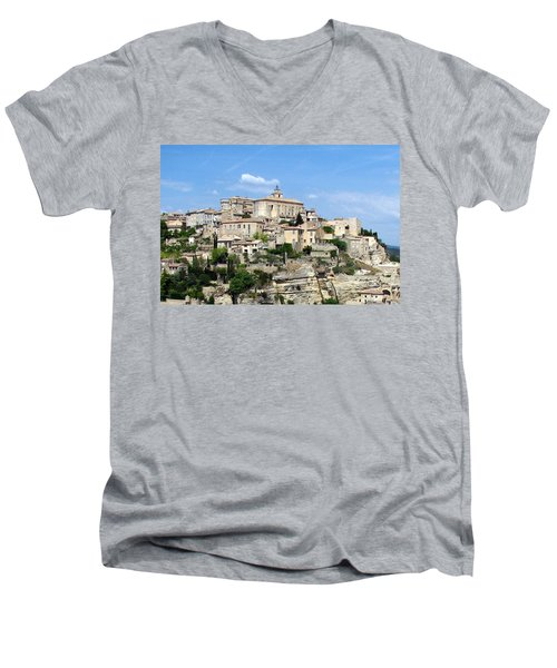 Men's V-Neck T-Shirt featuring the photograph Gordes In Provence by Carla Parris