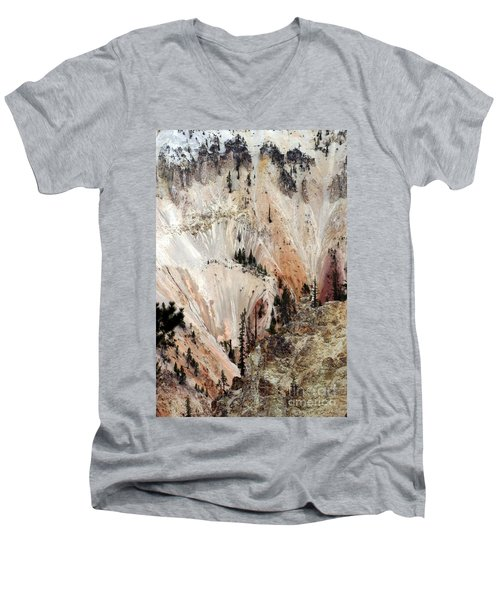 Men's V-Neck T-Shirt featuring the photograph Grand Canyon Of Yellowstone Vertical by Living Color Photography Lorraine Lynch