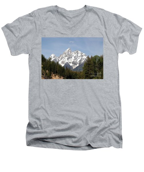 Men's V-Neck T-Shirt featuring the photograph Grand Tetons by Living Color Photography Lorraine Lynch