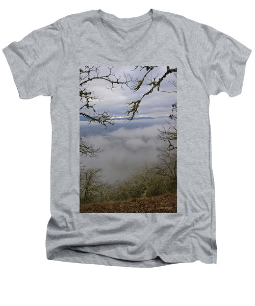 Men's V-Neck T-Shirt featuring the photograph Grants Pass In The Fog by Mick Anderson