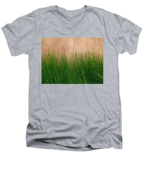 Men's V-Neck T-Shirt featuring the photograph Grass And Stucco by David Pantuso