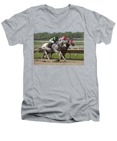 Men's V-Neck T-Shirt featuring the photograph Gray Vs Bay by Alice Gipson