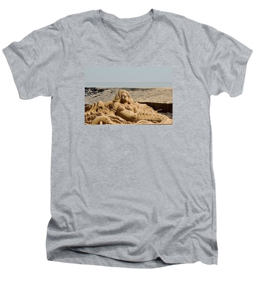 The Little Mermaid By The Sea Men's V-Neck T-Shirt by Fotosas Photography