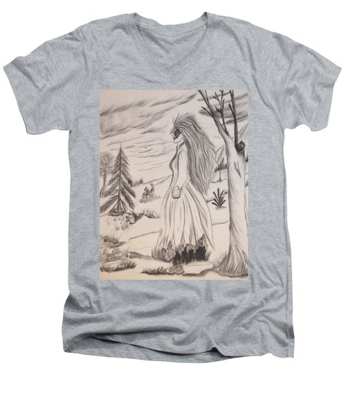 Men's V-Neck T-Shirt featuring the drawing Halloween Witch Walk by Maria Urso